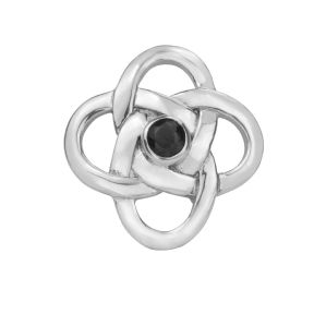 Celtic Knot Silver Brooch with Black colour stone 0412